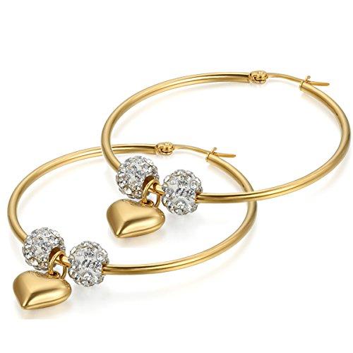 Flongo Orecchini viticci ciondolo donna, Grandi orecchini del cerchio con strass cuore prezioso, colore dorato attraente, Festa della Mamma