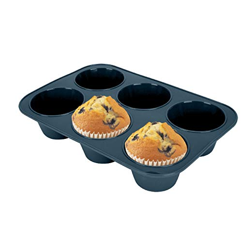 Silicone Muffin Baking Pan & Cupcake Tray 6 Cup - Nonstick Cake Molds/Tin, Large Silicon Bakeware, BPA Free, Dishwasher & Microwave Safe (Grey)