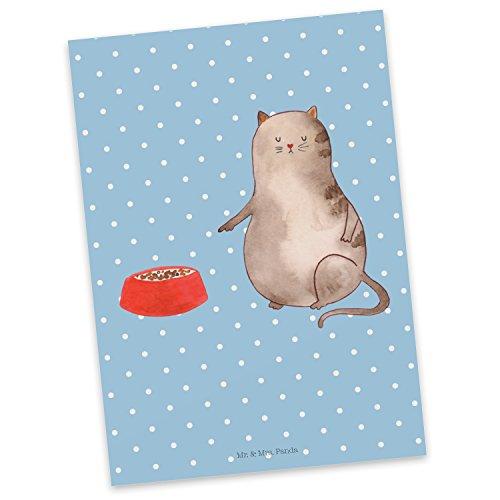 Mr. & Mrs. Panda uitnodiging, kaart, Ansichtkaart Kattenbak - Kleur Blauwe Pastel