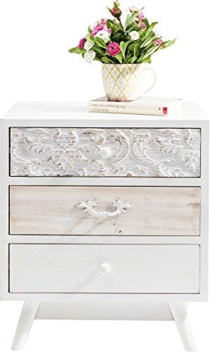 Kare Design Kommode Sweet Home, Nachttisch mit 3 Schubladen, Nachtschrank, Weiß (H/B/T) 60,5x50x35cm