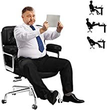Leather Office Chair for Heavy People 400lbs- Executive Desk Computer Chair-Swivel Chair with Heavy Duty Metal Base - Thick Padding- Lumbar Support (Large)