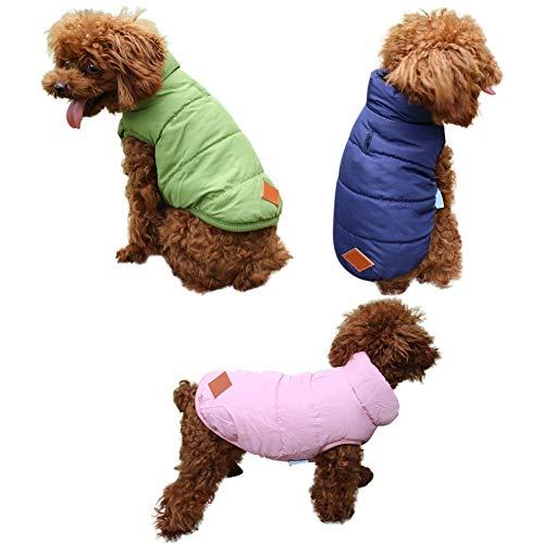 Etophigh huisdier-honden winter verdikt warm donsjack puppy normale lak katoenen jas - eenvoudige manier, Large, roze