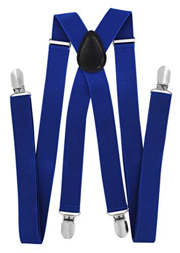 axy Hochwertige Herren Hosenträger breit 2,5 cm mit 4 Starken Clips X-Form und Damen (Blau)