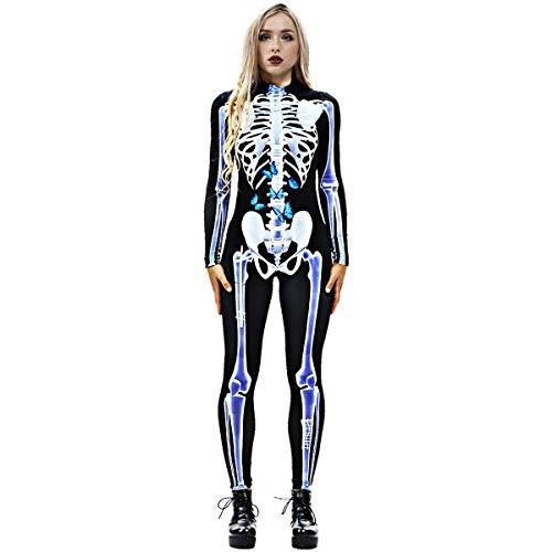 Neusky Lady Skull Skelett Kostüm Perfektes Kostüm für Halloween, Weihnachten , Karneval oder Mottoparties (S, EIS -Blau)