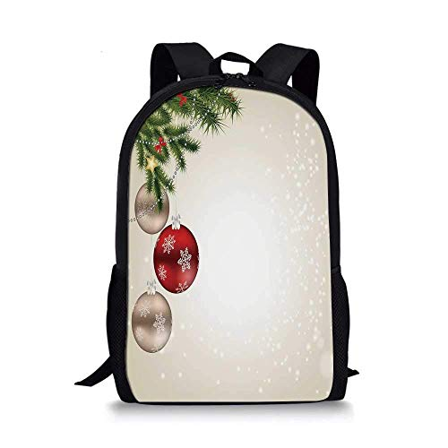 AOOEDM Backpack - Mochila Escolar navideña con Estilo, Abstractos Iconos de celebración Festiva, Bolas, Ramas de árboles de coníferas, Pajaritas Decorativas para niños, 11 'L x 5' W x 17 'H