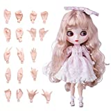 XSHION 1/6 BJD Doll is Similar to Blythe Doll, 4-Color Changing Eyes Matte Face 12 Inch 19 Ball Jointed Doll, Customized Doll with Body, Light Golden Wig, Clothes, Replaceable Hands