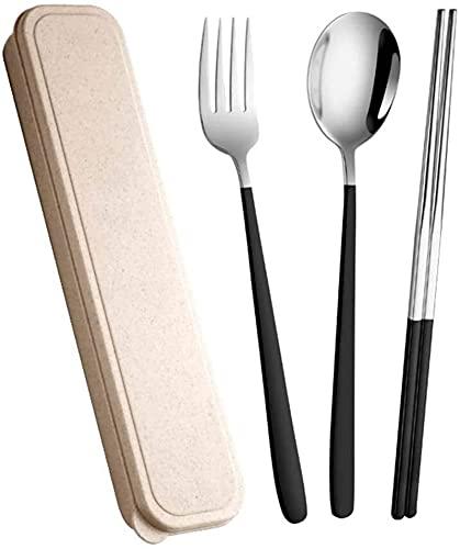 Sistema portátil de acero inoxidable Portátiles Sistema de cuchara Conjunto de tres piezas Conjunto de tres piezas Horquilla para adultos Chopsticks Cuchara de almacenamiento único GIAOYAO