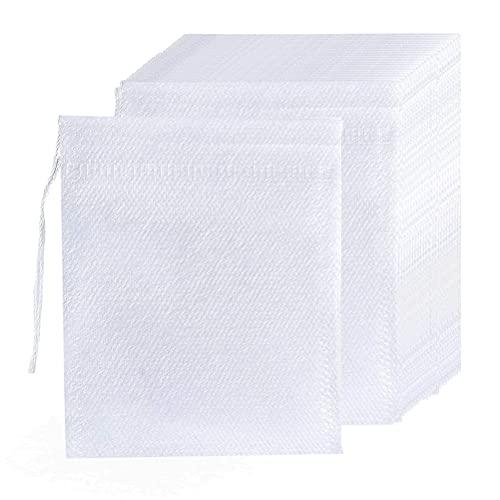 QLOUNI 400 Stück Teebeutel Leeres Papier Teefilterbeutel Einweg-Teefilterbeutel, Leere Baumwolle, mit Kordelzug, für Lose Blätter-9 x 7 cm