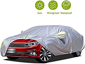 MARZAHAR Universal Sedan Car Cover Waterproof All Weather Car Covers for Automobiles Outdoor Rain Hail Wind Proof Full Protection Sedan Car Cover with Zipper Door