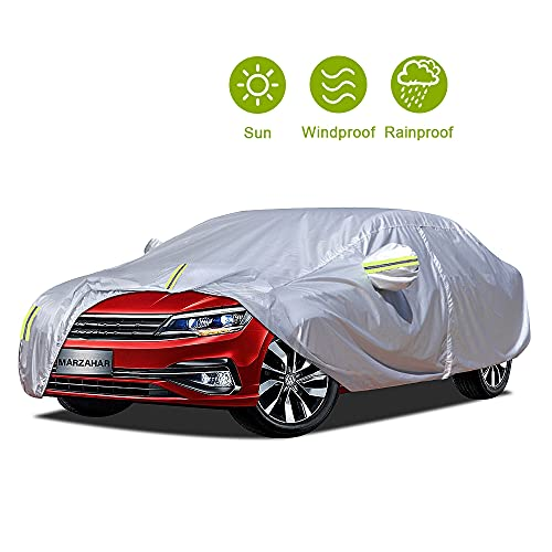 MARZAHAR Universal Sedan Car Cover Waterproof All Weather Car Covers for Automobiles Outdoor Rain...