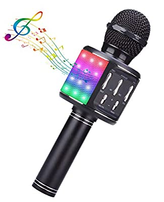 BlueFire Bluetooth Karaoke Wireless Microphone with Dancing LED Lights, Portable Speaker Karaoke Machine, Home KTV with Record Function, Compatible with Android iOS Devices(Black)