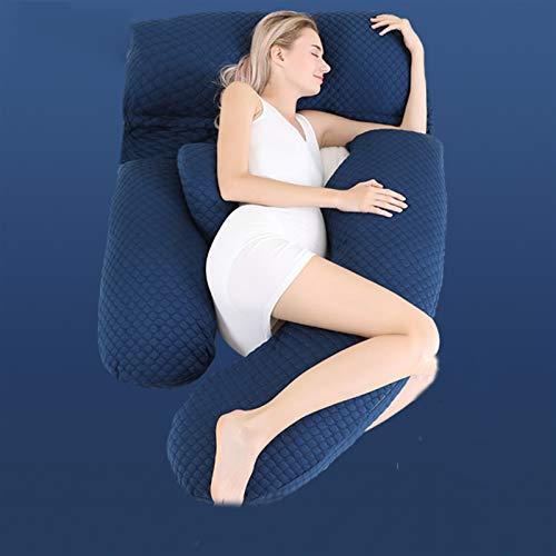 47-B Almohada embarazada, almohada de cintura lateral para dormir, cojín lateral tumbado, almohada en forma de U, almohada de memoria para dormir (color: azul)