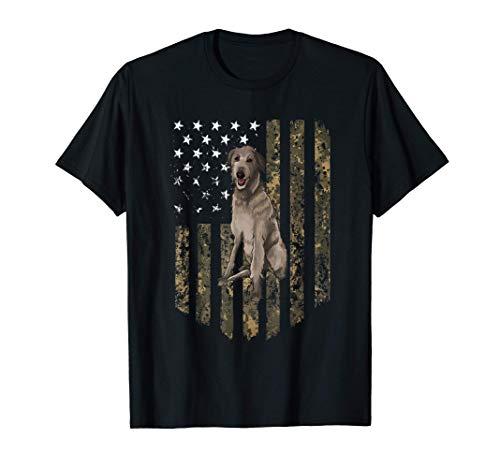 Bandiera Americana Camuflaje Lebrel Escocés Camiseta