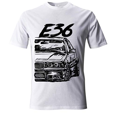 E36 M3 3 Series Herren Grunge T-Shirt #2066 (XL, Weiß)