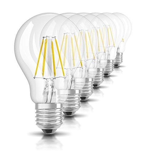 Osram LED Star Classic A Lampe, in Kolbenform mit E27-Sockel, nicht dimmbar, Ersetzt 40 Watt, Filamentstil Klar, Warmweiß - 2700 Kelvin, 6er-Pack