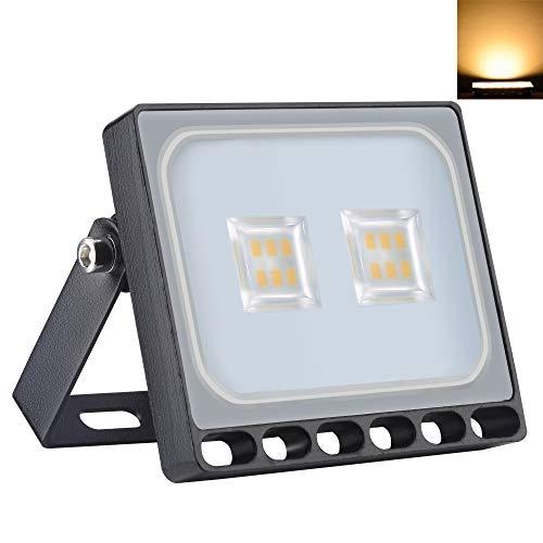 10W Ultrafinas LED Luces de Inundación 800LM 3000K Blancos Cálidos Focos IP65 Iluminación Exterior Impermeable para Jardín Paisaje Estacionamiento Hotel