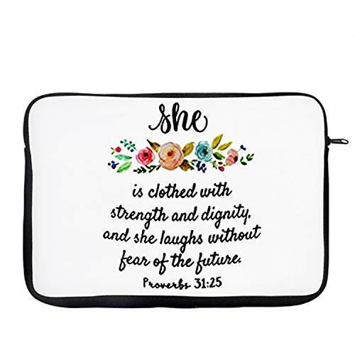 She is Clothed With Strength and Dignity Laptop Sleeve, Laptop Organiser, Laptop Case Office use Secret Santa. (14')