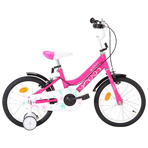 vidaXL Kinderfahrrad mit Stützrädern Höhenverstellbarer Lenker Mädchenfahrrad Kinderrad Fahrrad für Kinder Mädchen 16 Zoll Schwarz Rosa