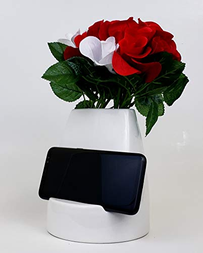 kameelion Unique Ceramic Smartphone/Tablet Flower Vase, Ideal Gift and Design for Home and Office