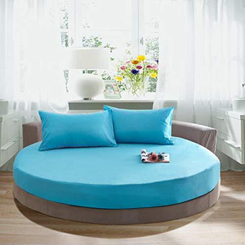 Funda de colchón Anti chinches, Transpirable, Funda de Cama Redonda de algodón Pure Color-Lake Blue_2.2m