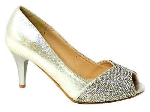 Zapatos de tacón bajo para mujer, para mujer, de boda, con diamantes...