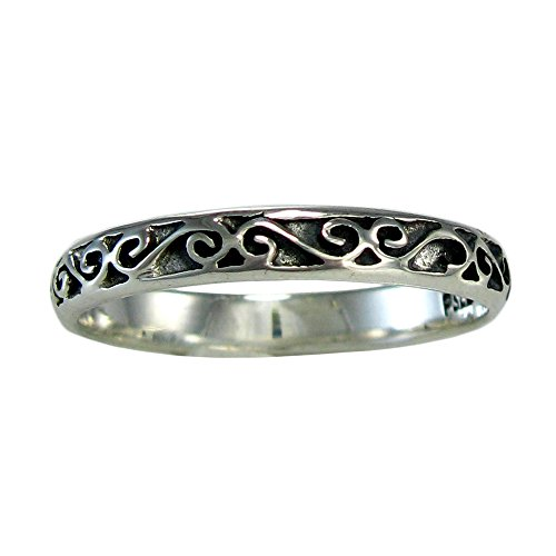 Moonlight Mysteries Narrow Sterling Silver Celtic Motif Band Ring for Men or Women (Available 4-15) sz 11