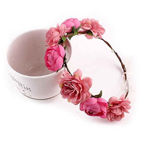 Tiara de flores para el pelo Aukmla, para vacaciones o boda, para...