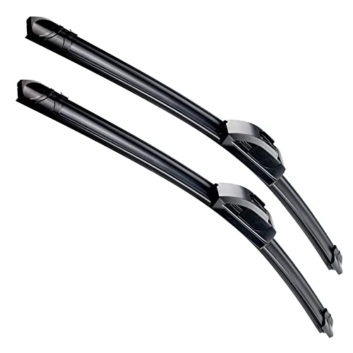 OEM Quality 22''+22'' Premium All-Season Auto Windshield Natural Rubber J-Hook Wiper Blades(Pack of 2)