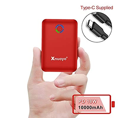 Xnuoyo PD 18W Mini Power Bank 10000mAh, Quick Charge 3.0 Portable Charger USB C Input/Output External Battery Pack High Capacity Powerbank Compatible with Most Smart Phones(red)