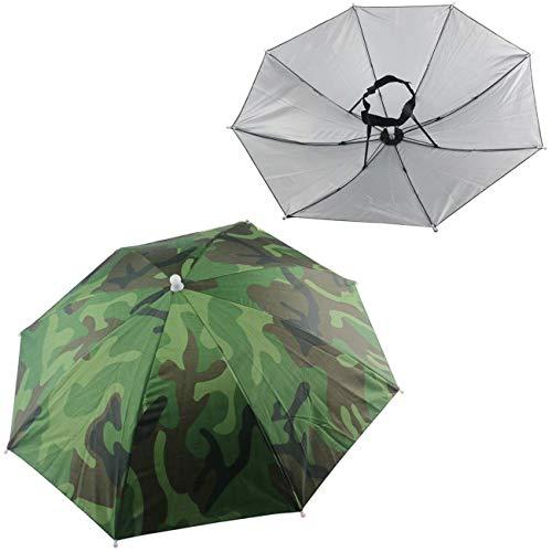 WOVELOT 2 sombreros paraguas para pesca al aire libre, playa de jardín (camuflaje)