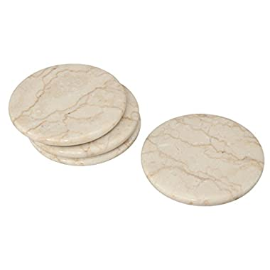 Creative Home 4 Piece Champagne Marble Coaster Set (4  Diameter), Beige