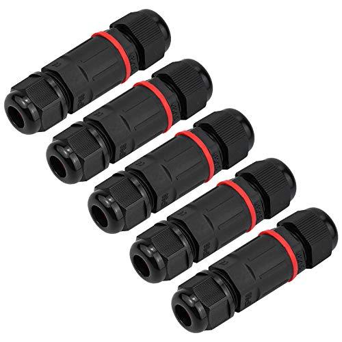 KUPINK 5 PCS 3 Noyaux Connecteur Électrique Éxterieur Etanche Boîtier de Jonction Boite de Jonction IP68 pour Diamètre de Câble 6mm - 12mm Noir