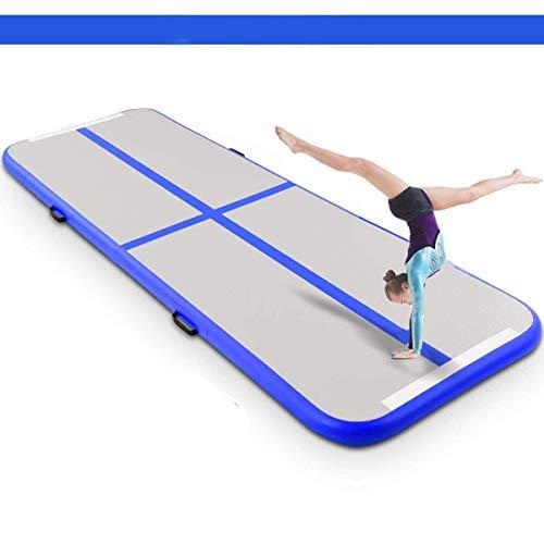 Airtrack Tapis de Gymnastique Gonflable avec Pompe Pratique et Durable Piste Gonflable Air Track pour Gymnaste Tumbling Yoga Taekwondo Pom-Pom Girl Camping (Blue, 3x1x0.1M)