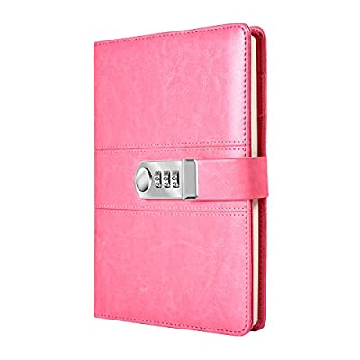 Smooth Pink PU Leather Journal with Combination Lock