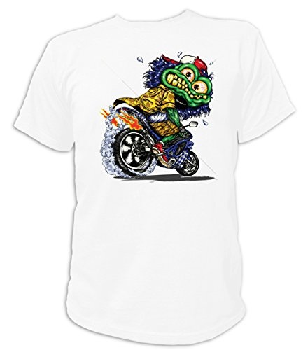 Artdiktat T-Shirt Camiseta para Hombre - Green Monster ON Motorcycle Größe XXXL, weiß