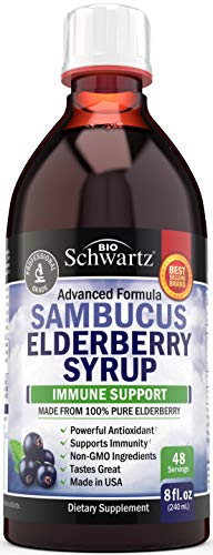 Sambucus Black Elderberry Syrup - Powerful Antioxidant for Daily Immune Support - 100% Pure Advanced Formula - Non-GMO & Vegan - Great Tasting - for Kids & Adults - 8 Ounce Bottle