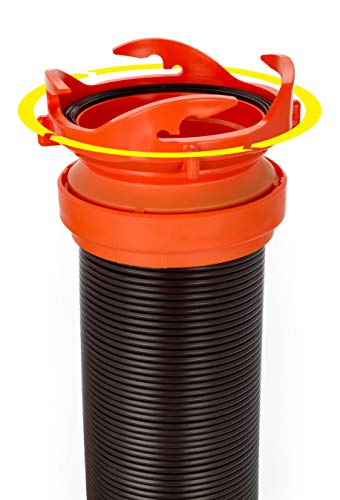 Camco RhinoFLEX 15ft RV Sewer Hose Kit, Includes Swivel Fitting and Translucent Elbow with 4-In-1 Dump Station Fitting, Storage Caps Included, Frustration-Free Packaging (39770)