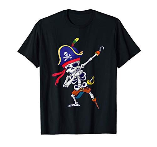 Dabbing Esqueleto Pirata Halloween Cráneo Niños Regalo Camiseta