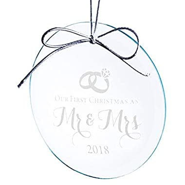 Crystal Wedding Ornament - Our First Christmas as Mr and Mrs 2018 - Elegant Design Etched on Round Jade Crystal Ornament (3 Inches) in Gift Box - Marriage or Bridal Shower Gift Idea for Newlyweds
