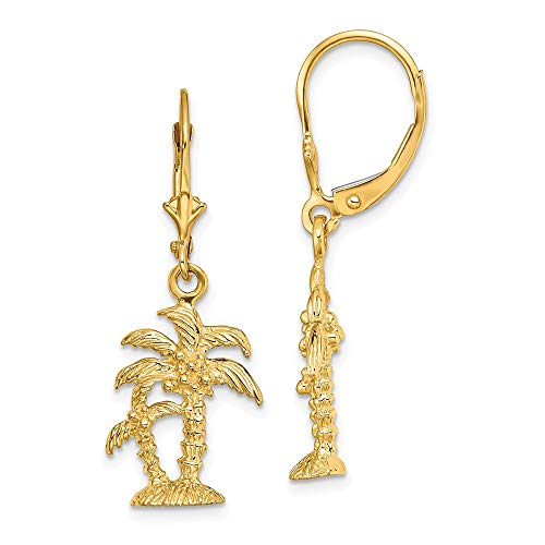 14k Yellow Gold 3-D Textured Palm Trees Leverback Earrings