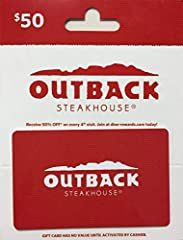 Give an Outback Gift Card as Your Next Gift-Perfect for Any Occasion. Outback Steakhouse starts fresh every day to create the flavors that our mates crave. Redeem at Outback Steakhouse, Carrabba's Italian Grill, Bonefish Grill and Fleming's Prime Ste...