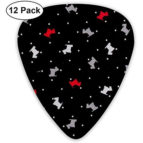 Grey Red Cute Puppy Plektren 12 Ukulelen-Plektren, einschließlich 0,46 mm, 0,71 mm, 0,96 mm Akustikgitarre