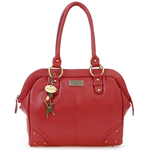 Catwalk Collection Handbags - Leder - Umhängetasche/Ledertasche/Schultertasche- DOCTOR - Rot