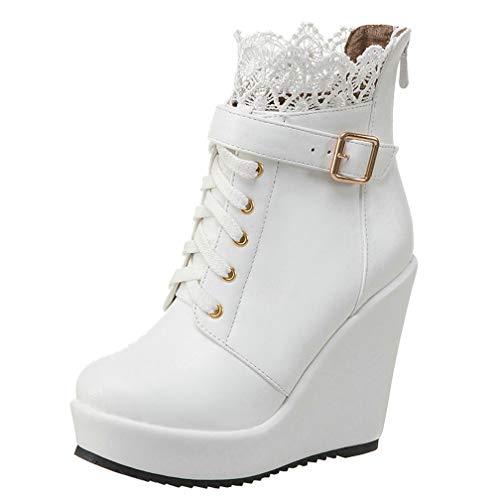 LUXMAX Damen Ankle Boots mit Keilabsatz Spitze Plateau Stiefeletten Wedges mit Reißverschluss Schuhe(Weiß 40)