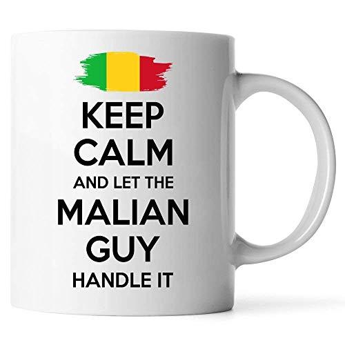 Taza de café blanca de dos tonos, regalo de Malí para hombres, abuelo, papá, tío, novio, taza de café con leche, mantén la calma y deja que el maliense lo maneje Gran taza de regalo Taza de café diver