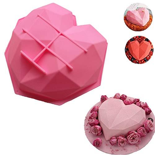 Weiß Diamant Herz Silikonform|3D Kuchenform|Professionelle Antihaft- und Starke Hitzebeständigkeit, Kann in den Ofen Gestellt werden, Mikrowelle,Machen Sie Muffins| Kuchen|Süßigkeiten