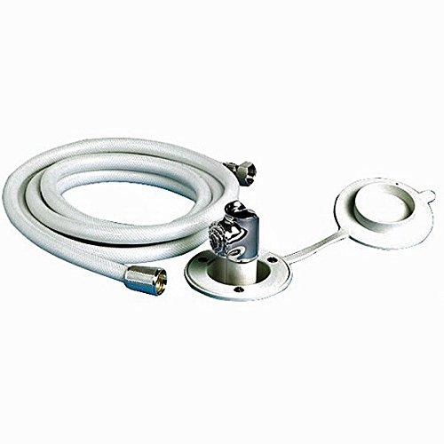 Osculati Messing Borddusche, verchromt - 84mm - mit Druckschalter und 4m PVC Schlauch - horizontaler Einbau