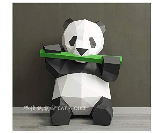 FAEIO Creativo Moderno Paper Craft DIY Modelo 3D Papel Panda Comiendo Bambú Modelo de Papel 3D Panda geométrico Adecuado para niños Mayores de 14 años (Papel Iridiscente) B Origami Paper Model