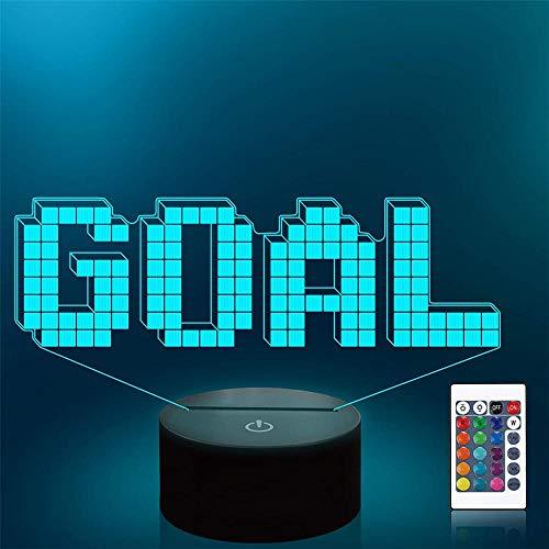 Pixel Goal 3D lámpara de ilusión LED luz nocturna Playstation luces 16 colores cambiantes lámpara de escritorio para niños Navidad cumpleaños regalos decoración del hogar