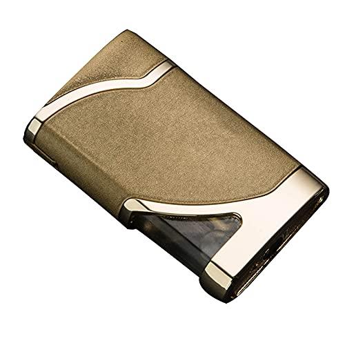 Accendini ricaricabili in metallo con luce a gas visibile, ricaricabile, con luce a LED Accendino a fiamma regolabile, colore oro
